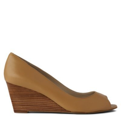 Powersurge Wedge Courts - predominant colour: tan; material: leather; heel height: mid; heel: wedge; toe: open toe/peeptoe; style: courts