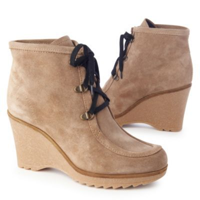 Sissy Ankle Boots Bone - predominant colour: camel; material: suede; heel height: high; heel: wedge; toe: round toe; boot length: ankle boot; style: standard