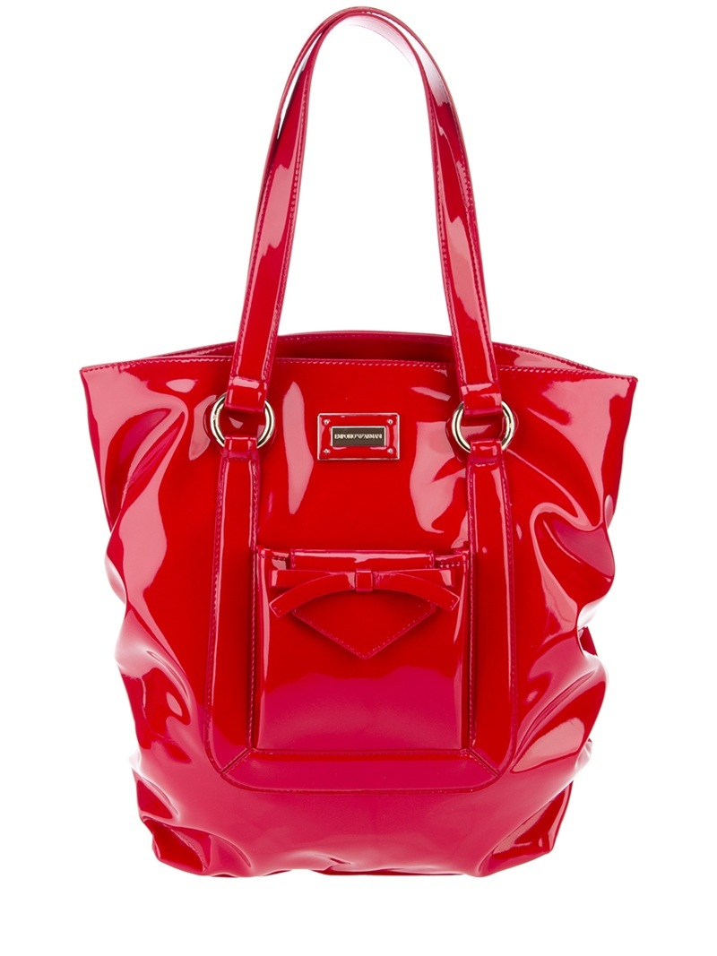 Hi Shine Tote - predominant colour: true red; style: tote; length: shoulder (tucks under arm); size: oversized; material: leather; pattern: plain