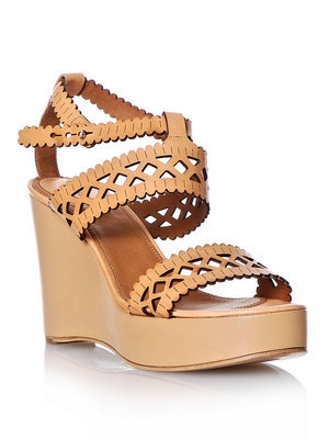 Laser Cut Leather Wedge Shoes - predominant colour: camel; material: leather; heel height: high; ankle detail: ankle strap; heel: wedge; toe: open toe/peeptoe; style: standard
