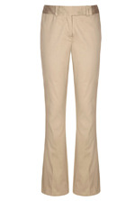 Cotton Sateen Boot Cut Trousers - length: standard; pocket detail: small back pockets, pockets at the sides; waist detail: wide waistband/cummerbund; waist: mid/regular rise; predominant colour: champagne; occasions: casual, evening, work; fibres: cotton - stretch; fit: bootcut; style: standard