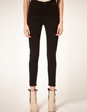 High Waist Ankle Grazer 'Pag' Jeans - style: skinny leg; pattern: plain; waist: high rise; pocket detail: traditional 5 pocket; predominant colour: black; occasions: casual; length: ankle length; fibres: cotton - stretch; material texture: denim; texture group: denim; pattern type: fabric; pattern size: standard