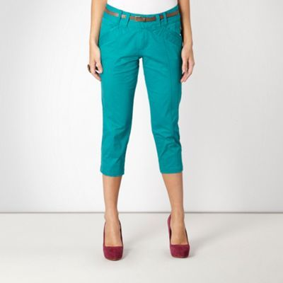 Turquoise Cropped Chino Trousers - waist detail: fitted waist, belted waist/tie at waist/drawstring; waist: mid/regular rise; predominant colour: turquoise; occasions: casual; length: calf length; style: chino; fibres: cotton - mix; hip detail: side pleats at hip; fit: straight leg