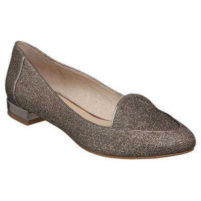 Champagne Glitter Slipper Cut Loafer - predominant colour: champagne; material: fabric; heel height: flat; embellishment: glitter; toe: pointed toe; style: loafers