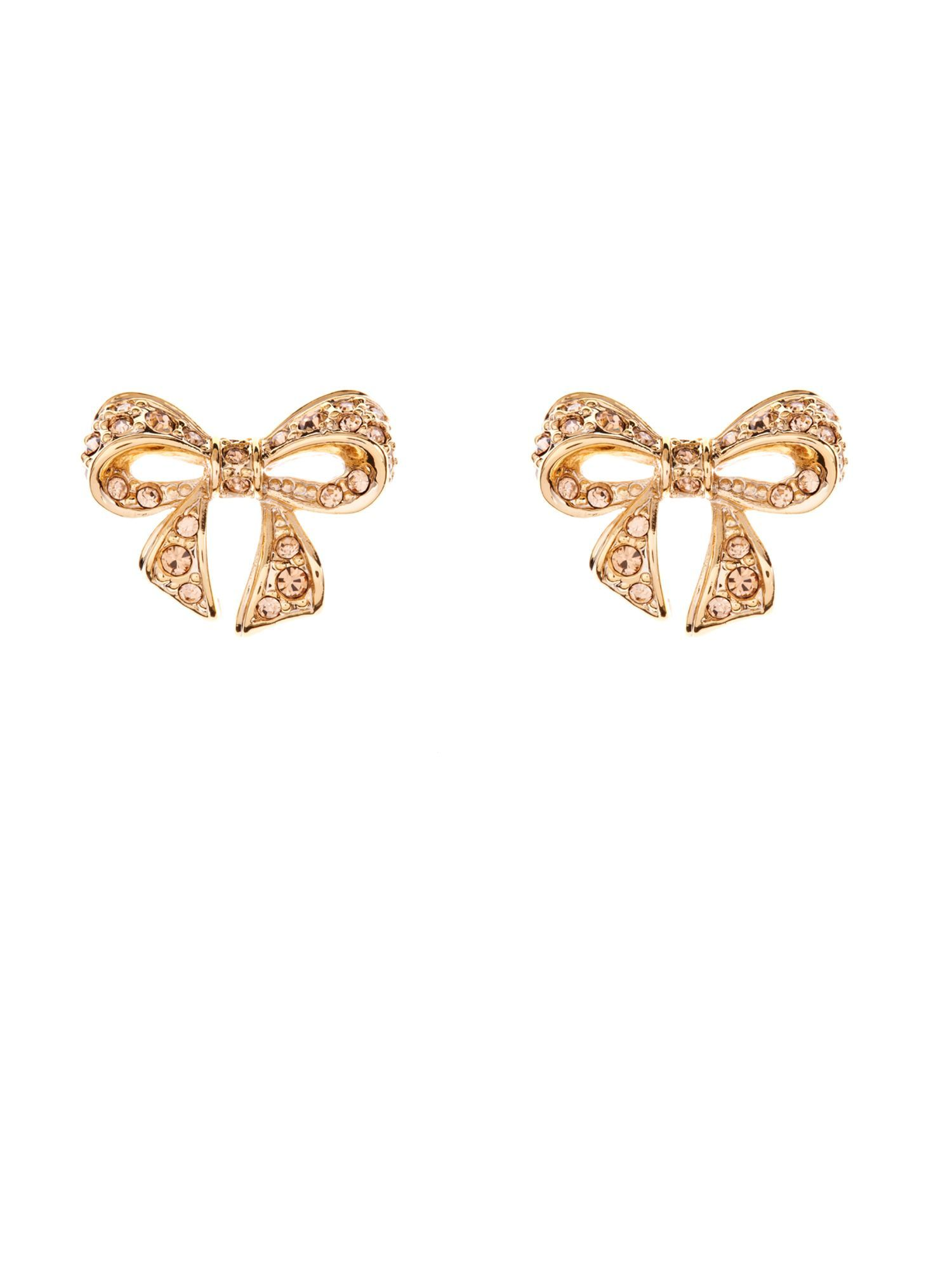Pave Crystal Small Bow Earring, Topaz - predominant colour: gold; style: stud; length: short; size: small; material: chain/metal; fastening: pierced