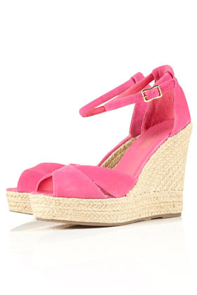Whistle Espadrille Wedges - predominant colour: pink; material: fabric; heel height: high; ankle detail: ankle strap; heel: wedge; toe: open toe/peeptoe; style: strappy