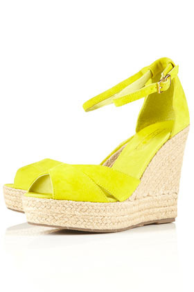 Whistle Espadrille Wedges - predominant colour: yellow; material: fabric; heel height: high; ankle detail: ankle strap; heel: wedge; toe: open toe/peeptoe; style: strappy