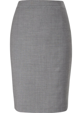 Light Grey Waist Detail Wool Skirt - pattern: plain; style: pencil; fit: tailored/fitted; waist detail: fitted waist; waist: high rise; hip detail: fitted at hip; predominant colour: light grey; occasions: work; length: on the knee; fibres: wool - mix; pattern type: fabric; pattern size: standard
