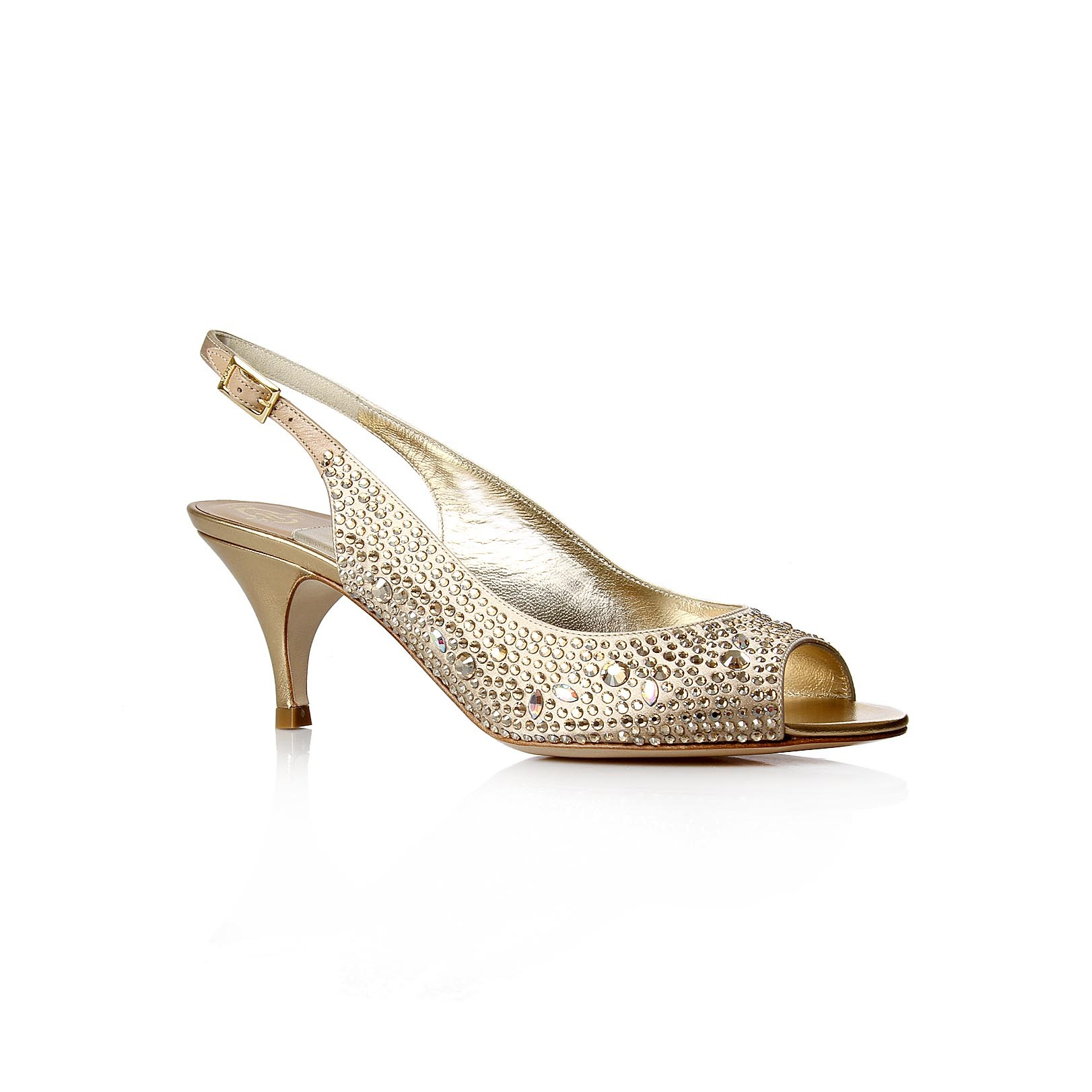 Livi - predominant colour: champagne; material: fabric; heel height: mid; embellishment: jewels, sequins; heel: kitten; toe: open toe/peeptoe; style: slingbacks