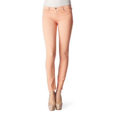 Sorbet Skinny Jeans - style: skinny leg; length: standard; pattern: plain; pocket detail: traditional 5 pocket; waist: mid/regular rise; predominant colour: coral; occasions: casual, evening; fibres: cotton - stretch; material texture: denim; trends: pastels; texture group: denim; pattern type: fabric; pattern size: standard