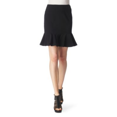 Ruffled Skirt - length: mid thigh; pattern: plain; style: ruffled; fit: tailored/fitted; waist detail: fitted waist, embellishment at waist/feature waistband; hip detail: fitted at hip, ruching/gathering at hip; waist: mid/regular rise; predominant colour: black; occasions: evening, work; fibres: polyester/polyamide - 100%; material texture: jersey; pattern type: fabric; pattern size: standard; texture group: jersey - stretchy/drapey