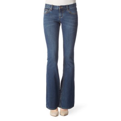 Bangkok Boot Cut Jeans - style: bootcut; length: standard; pattern: plain; pocket detail: traditional 5 pocket; waist: mid/regular rise; predominant colour: denim; occasions: casual; fibres: cotton - stretch; material texture: denim; jeans detail: washed/faded; trends: aquatic; texture group: denim; pattern type: fabric; pattern size: standard