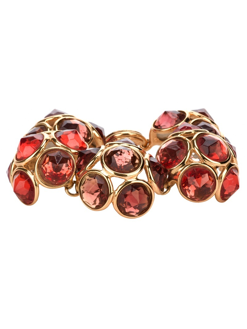 'Flower' Bracelet - predominant colour: true red; style: bangle; size: standard; material: crystal; embellishment: crystals