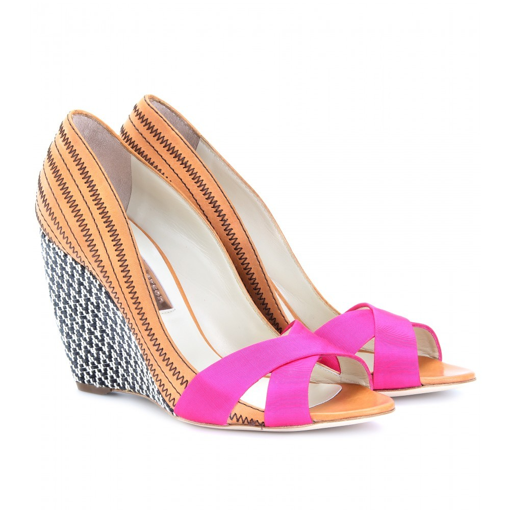 Kibo Leather Peep Toe Wedges - predominant colour: multicoloured; material: leather; heel height: high; heel: wedge; toe: open toe/peeptoe; style: strappy