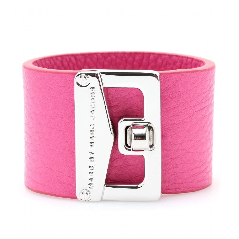 Mini Bianca Leather Armband - predominant colour: hot pink; style: cuff; size: standard; material: leather