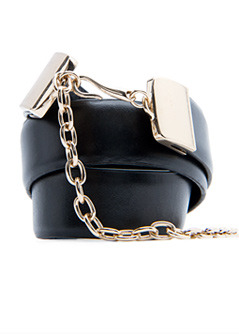 Belt Timan T C - predominant colour: black; style: chainlink; size: standard; worn on: waist; material: leather; pattern: plain