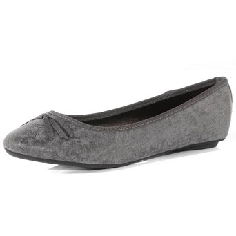 Silver Ballerina Pumps - predominant colour: silver; material: fabric; heel height: flat; toe: round toe; style: ballerinas / pumps