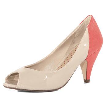 Cream Peep Toe Court - predominant colour: ivory; material: patent; heel height: mid; heel: stack; toe: open toe/peeptoe; style: courts; finish: patent