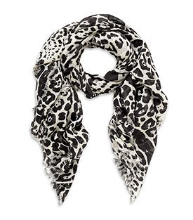 Leopard Print Scarf - predominant colour: black; type of pattern: standard; style: square; size: standard; material: knits; pattern: animal print