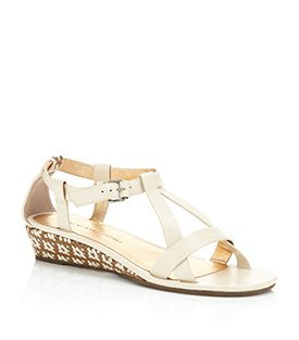 Aztec Leather Sandal - predominant colour: ivory; material: leather; heel height: mid; ankle detail: ankle strap; heel: wedge; toe: open toe/peeptoe; style: standard