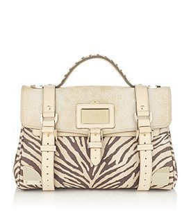 Travel Day Bag Animal - predominant colour: ivory; type of pattern: standard; style: briefcase; length: handle; size: standard; material: leather; pattern: animal print, plain