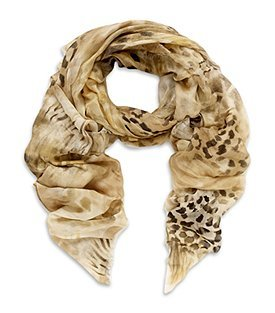 Airbrush Animal Print Scarf - predominant colour: multicoloured; type of pattern: standard; style: square; size: large; material: fabric; pattern: animal print