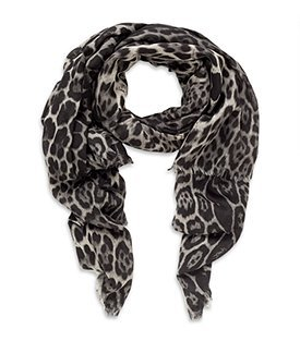 Leopard Print Scarf - predominant colour: black; type of pattern: standard; style: regular; size: standard; material: knits; pattern: animal print