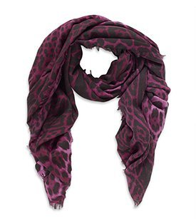 Leopard Print Scarf - predominant colour: purple; type of pattern: standard; style: regular; size: standard; material: knits; pattern: animal print