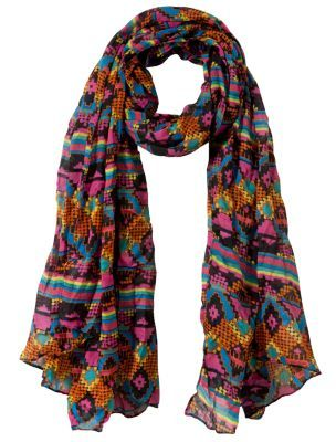 Multi Coloured Tribal Print Scarf - predominant colour: multicoloured; type of pattern: heavy; style: skinny; size: standard; material: fabric; pattern: graphic print, patterned/print
