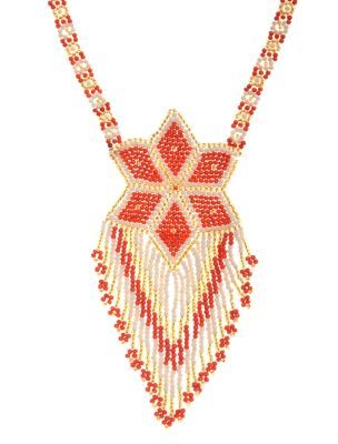 Seed Bead Star Necklace - predominant colour: bright orange; style: tassel; length: mid; size: large/oversized; material: beaded; embellishment: beading