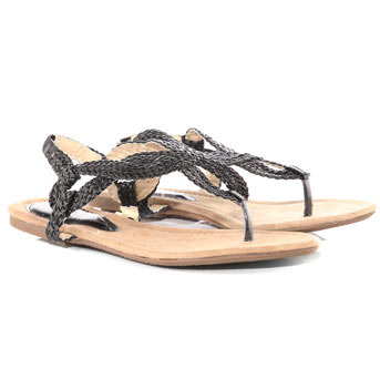Plaited Weave Sandals - predominant colour: charcoal; material: faux leather; heel height: flat; ankle detail: ankle strap; heel: standard; toe: toe thongs; style: flip flops / toe post