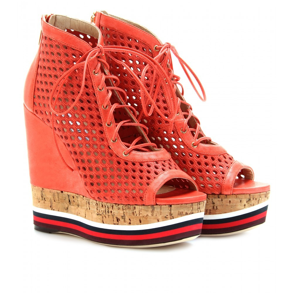 Lace Up Leather Wedges - predominant colour: coral; material: leather; heel height: high; heel: wedge; toe: open toe/peeptoe; boot length: ankle boot; style: standard