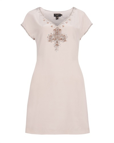 Ted Baker   Zunay   Embellished Silk Dress - style: shift; length: mid thigh; neckline: v-neck; pattern: plain; sleeve style: sleeveless; bust detail: added detail/embellishment at bust; waist detail: fitted waist; predominant colour: blush; occasions: casual, evening, occasion; fit: body skimming; fibres: silk - 100%; material texture: chiffon; trends: pastels; sleeve length: sleeveless; texture group: sheer fabrics/chiffon/organza etc.; pattern type: fabric; pattern size: small & light; embellishment: beading