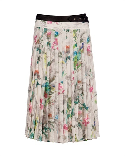 Ted Baker   Lyza   Printed Midi Skirt - length: below the knee; pattern: floral - busy, print, picture design, abstract, florals, patterned/print; fit: loose/voluminous; style: pleated; waist detail: fitted waist, belted waist/tie at waist/drawstring; waist: mid/regular rise; predominant colour: ivory; occasions: casual, work; fibres: polyester/polyamide - 100%; material texture: chiffon; hip detail: structured pleats at hip; trends: prints; texture group: sheer fabrics/chiffon/organza etc.; pattern type: fabric; pattern size: small &amp; busy