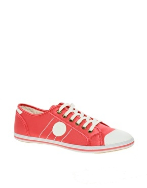 Demand Satin Trainers - predominant colour: bright orange; material: fabric; heel height: flat; toe: round toe; style: trainers