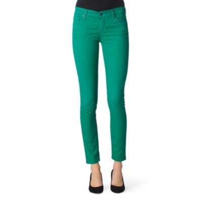 Thompson Skinny Jeans - style: skinny leg; pattern: plain; waist: low rise; pocket detail: traditional 5 pocket; predominant colour: emerald green; occasions: casual, evening; length: ankle length; fibres: cotton - stretch; material texture: denim; trends: brights; texture group: denim; pattern type: fabric; pattern size: standard