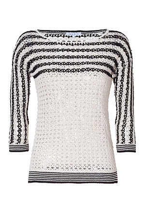 Ecru And Black Striped Mesh Cotton Pullover - neckline: slash/boat neckline; pattern: horizontal stripes, holey knit; style: standard; predominant colour: ivory; occasions: casual; length: standard; fibres: cotton - 100%; fit: standard fit; trends: prints; sleeve length: 3/4 length; sleeve style: standard; pattern type: knitted - other; pattern size: standard