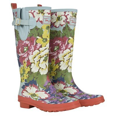 Floral Womens Wellies, Blue - predominant colour: multicoloured; material: plastic/rubber; heel height: flat; embellishment: buckles, print; heel: standard; toe: round toe; boot length: knee; style: wellies; pattern: patterned/print