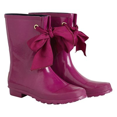 Millie Wellington Boots, Pink - predominant colour: hot pink; material: plastic/rubber; heel height: flat; embellishment: ribbon; heel: standard; toe: round toe; boot length: mid calf; style: wellies