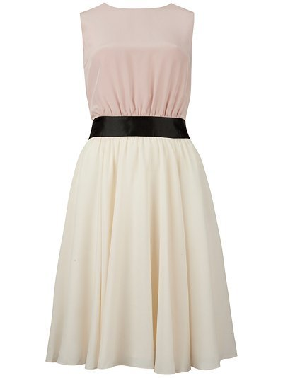 Alysa Full Skirt Dress, Natural - length: mini; neckline: round neck; sleeve style: sleeveless; style: full skirt; waist detail: fitted waist, narrow waistband; predominant colour: pink; occasions: evening, occasion; fit: fitted at waist &amp; bust; fibres: silk - 100%; sleeve length: sleeveless