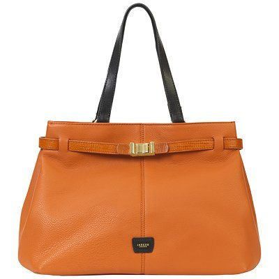 London Tote Handbag, Orange - predominant colour: bright orange; style: tote; length: shoulder (tucks under arm); size: standard; material: leather