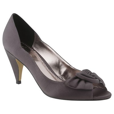 Twist Bow Peeptoe Court Shoes, Charcoal - predominant colour: charcoal; material: fabric; heel height: mid; embellishment: ribbon; heel: cone; toe: open toe/peeptoe; style: courts