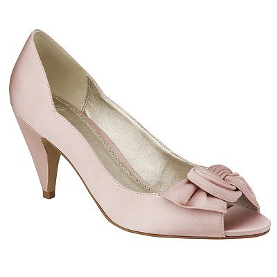 Twist Bow Peeptoe Court Shoes, Petal - predominant colour: blush; material: fabric; heel height: mid; embellishment: ribbon; heel: cone; toe: open toe/peeptoe; style: courts