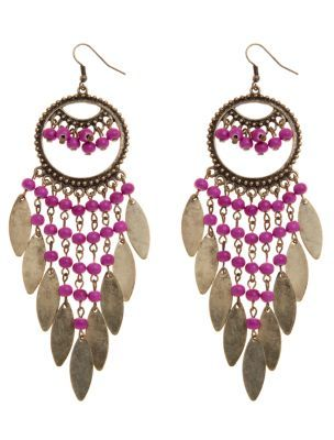Beaded Chandelier Earrings - predominant colour: multicoloured; style: chandelier; length: long; size: large/oversized; material: beaded; fastening: pierced; embellishment: beading