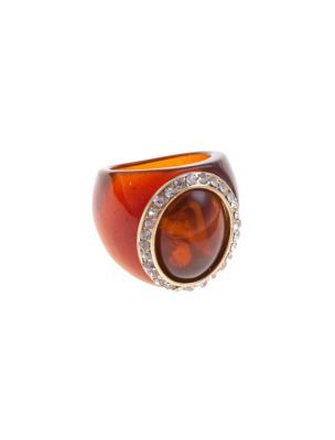 Oval Tortoiseshell Ring - predominant colour: black; style: cocktail; size: large/oversized; material: plastic/rubber
