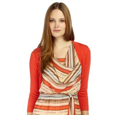 Firecracker Curved Hem Shrug - pattern: plain; neckline: shawl; style: bolero/shrug; length: cropped; predominant colour: bright orange; occasions: casual, evening, work; fibres: polyester/polyamide - stretch; fit: standard fit; material texture: silky; trends: brights; sleeve length: 3/4 length; sleeve style: standard; texture group: silky - light; pattern type: knitted - other; pattern size: standard