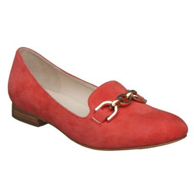 Coral Suede Chain Trim Loafers - predominant colour: coral; material: suede; heel height: flat; embellishment: snaffles; toe: round toe; style: loafers