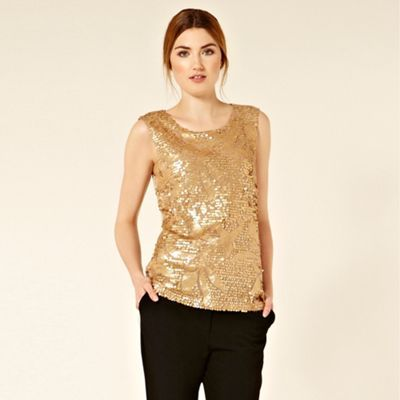 Patterned Sequin Shell - neckline: round neck; pattern: plain; sleeve style: sleeveless; waist detail: fitted waist; style: t-shirt; predominant colour: gold; occasions: evening, occasion; length: standard; fibres: polyester/polyamide - 100%; material texture: metallic; fit: body skimming; sleeve length: sleeveless; pattern type: fabric; pattern size: standard; embellishment: sequins