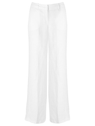 Linen Trousers, White - length: standard; pocket detail: small back pockets, pockets at the sides; waist detail: belted waist/tie at waist/drawstring, narrow waistband; waist: mid/regular rise; predominant colour: white; occasions: casual, work; fibres: linen - 100%; material texture: jersey; trends: white; fit: wide leg; texture group: jersey - stretchy/drapey; style: standard