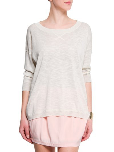 Loose Fit Jumper, Neutral - neckline: round neck; pattern: plain, polka dot; length: below the bottom; style: standard; predominant colour: light grey; occasions: casual, work; fibres: cotton - mix; material texture: jersey; hip detail: dip hem; bust detail: contrast pattern/fabric/detail at bust; back detail: longer hem at back than at front; trends: pastels; sleeve length: long sleeve; sleeve style: standard; pattern type: knitted - other; pattern size: standard; texture group: jersey - stretchy/drapey